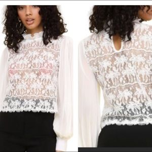 NWT Love Song Lace Pleated Chiffon Blouse